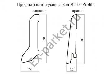 Конструкция шпонированного плинтуса La San Marco Profili