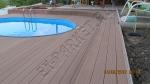 монтаж и укладка с использованием коричневой террасной доски из ДПК 30мм, вокруг и рядом с бассейном