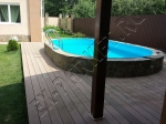 Монтаж террасной доски из ДПК Good Cover вокруг бассейна и рядом