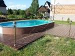 Монтаж террасной доски из ДПК вокруг бассейна