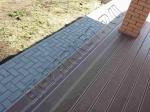 Монтаж террасной доски Декрон (цвет коричневый) на лаги, и монтаж цельнолитой ступени Декрон