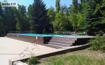 Монтаж террасной доски SaveWood Salix (тёмно-коричневый цвет) рядом с бассейном, на турбазе Авангард (Саратовская область)