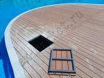 Укладка террасной доски из ДПК в парк-отеле Новый Век, в аквакомплексе NOVA PARADISE. Энгельс.